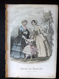 Journal des Demoiselles C1850 Antique Hand Col Fashion Print 87